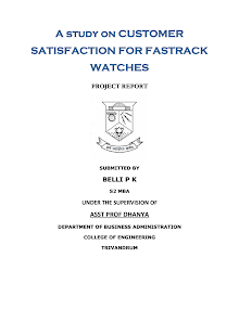 PROJECT ON CUSTOMER SATISFACTION ON FASTRACK WATCHES