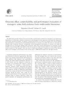 Outcome Effect controlability and performance evaluation of managers some evidence