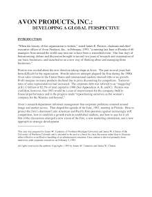 Developing A Global Perspective - Avon Products, Inc