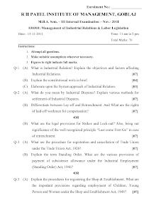 MBA HRM Sem-3 Paper