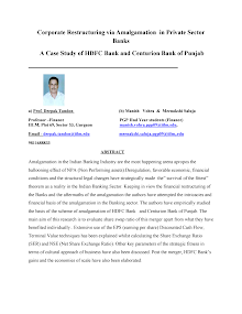 Case Study of HDFC Bank and Centurion Bank of Punjab