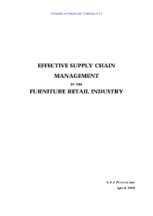 Project on Effective SCM in Furniture Retail Industry
