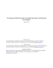 Empirical Investigation -  Impact of Retail Location on Retailer Revenues