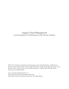 SCM Study in the Grocery Industry