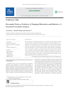 Personality Traits as Predictors of Shopping Motivations and Behaviors A Canonical Correl