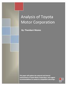 Analysis of Toyota Motor Corporation