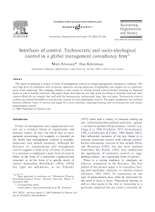 Interfaces of control. Technocratic and socio-ideological control in a global management c
