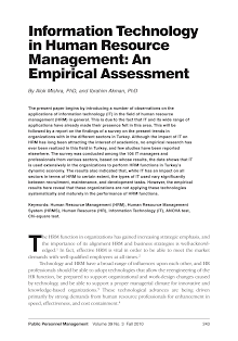 Empirical Assessment - Information Technology in Human Resource Management