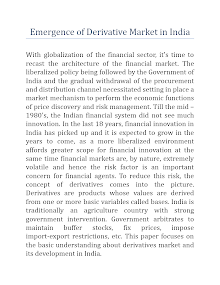 Emergence of Derivative Market in India
