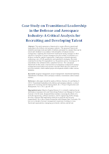 Case Study On Transitional Leadership In The Defense And Aerospace Industry