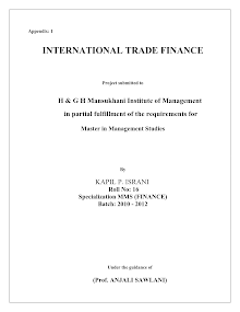 Project Report on International Trade Finance