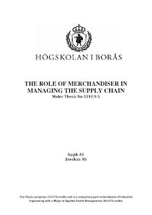 Research Project on Role of Merchandiser in Managing the Supply Chain