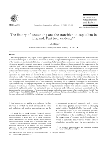 The history of accounting and the transition to capitalism in England. Part two: evidence