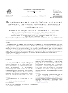 The relations among environmental disclosure, environmental performance, and economic perf