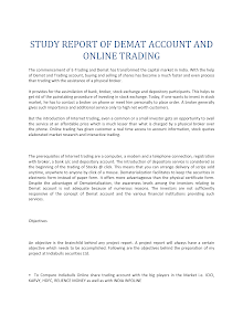 Study report of Demat Account and Online Trading