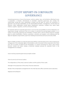 Study report on Corporate Governance