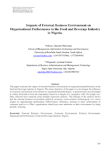 Study Paper on Organisational Performance in the Food and Beverage Industry in Nigeria