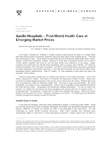 Apollo Hospitals – First-World Health Care at Emerging-Market Prices