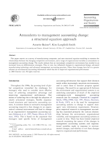 Antecedents to management accounting change: a structural equation approach