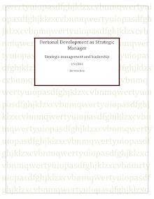 Personal Development as Stretigic Manager