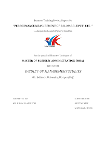 """PERFORMANCE MEASUREMENT OF R.K. MARBLE PVT. LTD. """