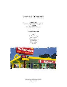 operation management of Macdonald