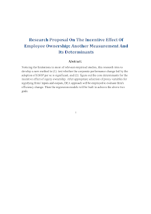 Research Proposal On The Incentive Effect Of Employee Ownership