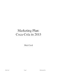 Marketing Plan: Coca-Cola in 2015