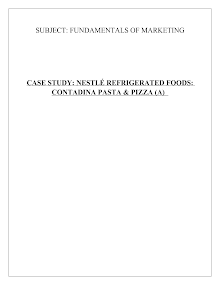 Nestle Refrigerated Foods: Case Analysis