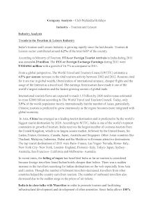 Club Mahindra Holidays - Company Analysis