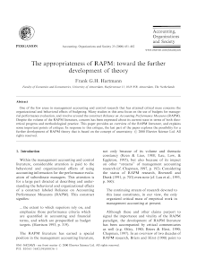The appropriateness of RAPM: toward the further development of theory