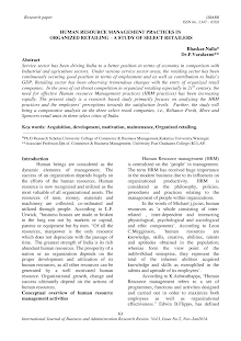 Research paper on Human Resource Management Practices