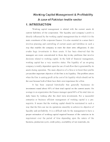 Working Capital Management & Profitability A case of Pakistan textile sector