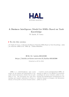 A Business Intelligence Model for SMEs Based on Tacit Knowledge M. Sadok