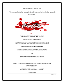 Consumer Behavior towards Soft Drinks and In Particular towards Coca-Cola
