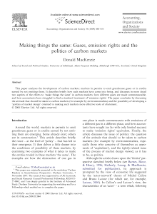 Making things the same: Gases, emission rights and the politics of carbon markets