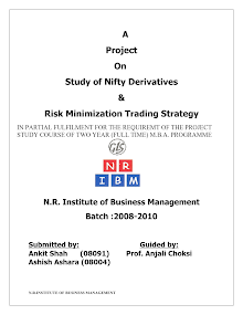 Study of Nifty Derivatives and Risk Minimization Trading Strategy