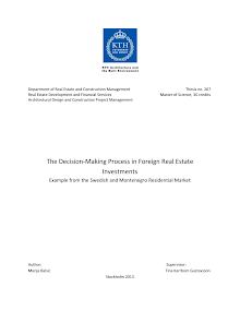 Study on Decision-Making Process in Foreign Real Estate Investments