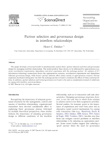 Partner selection and governance design in interfirm relationships