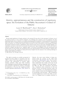 Identity, appropriateness and the construction of regulatory space: the formation of the P
