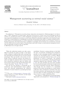 Management accounting as normal social science