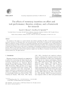 The effects of monetary incentives on effort and task performance