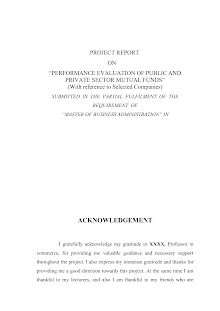 Performance Evaluation of Public and Private Sector Mutual Funds MBA Project