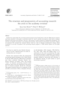 The structure and progressivity of accounting research: the crisis in the academy revisite