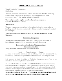 Project on Production Management