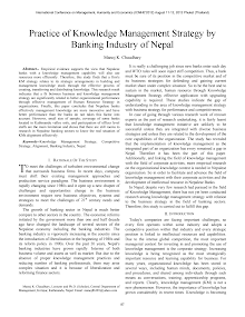 White Paper on  Knowledge Management Strategy by Banking Industry of Nepal