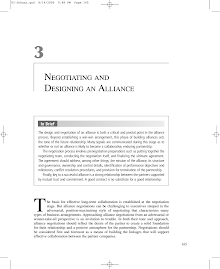Study on Negotiating and Designing an Alliance