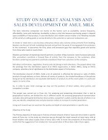 Study on Market Analysis and Sales Development of Amul Milk