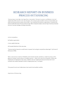 Research Report on Business Process Outsourcing