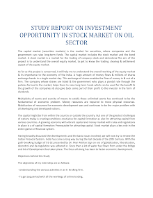 Research Study on Investment Opportunity in Stock Market on Oil Sector